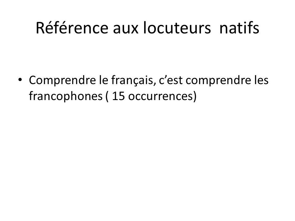 Référence aux locuteurs natifs Comprendre le français, cest comprendre les francophones ( 15 occurrences)