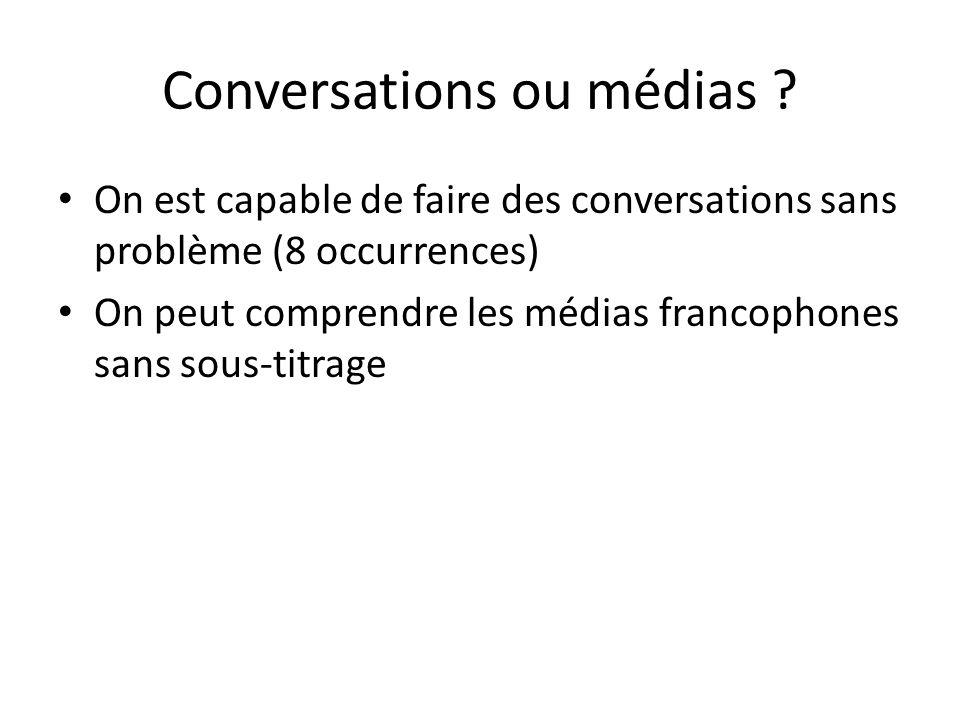 Conversations ou médias ? On est capable de faire des conversations sans problème (8 occurrences) On peut comprendre les médias francophones sans sous