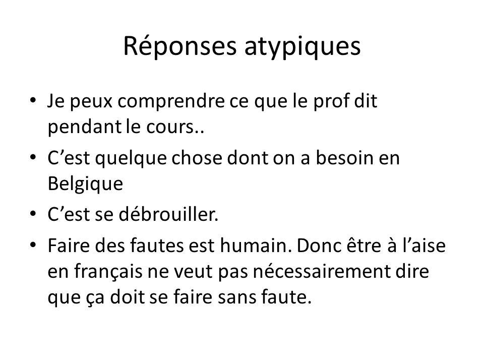 Réponses atypiques Je peux comprendre ce que le prof dit pendant le cours.. Cest quelque chose dont on a besoin en Belgique Cest se débrouiller. Faire