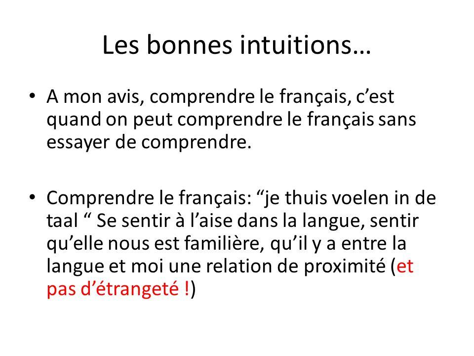 Les bonnes intuitions… A mon avis, comprendre le français, cest quand on peut comprendre le français sans essayer de comprendre. Comprendre le françai