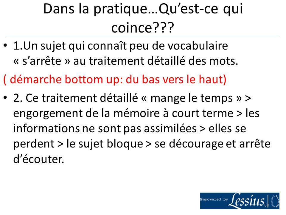 1.Un sujet qui connaît peu de vocabulaire « sarrête » au traitement détaillé des mots. ( démarche bottom up: du bas vers le haut) 2. Ce traitement dét
