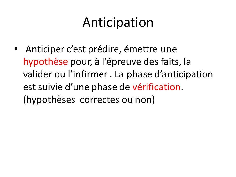 Anticipation Anticiper cest prédire, émettre une hypothèse pour, à lépreuve des faits, la valider ou linfirmer. La phase danticipation est suivie dune