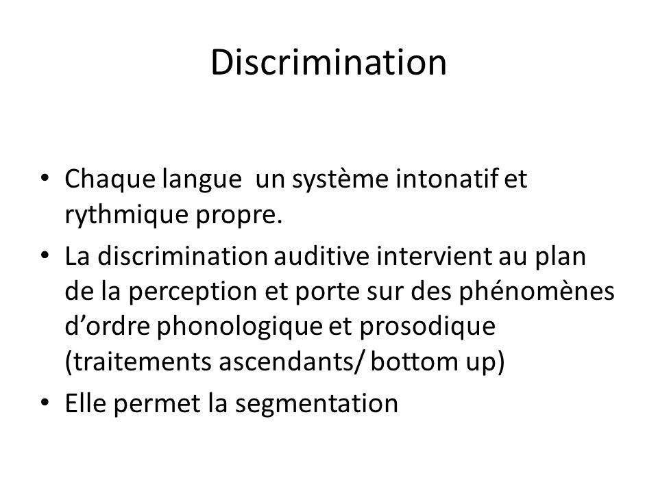 Discrimination Chaque langue un système intonatif et rythmique propre. La discrimination auditive intervient au plan de la perception et porte sur des