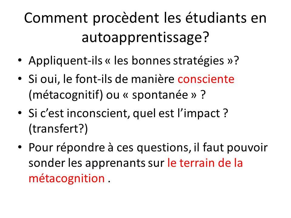Comment procèdent les étudiants en autoapprentissage? Appliquent-ils « les bonnes stratégies »? Si oui, le font-ils de manière consciente (métacogniti