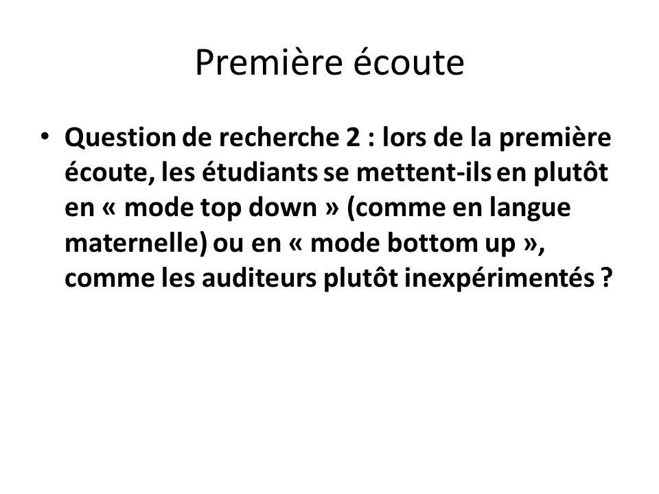Première écoute Question de recherche 2 : lors de la première écoute, les étudiants se mettent-ils en plutôt en « mode top down » (comme en langue mat