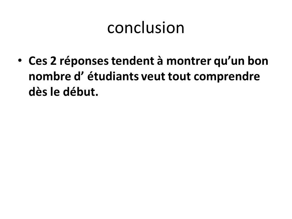 conclusion Ces 2 réponses tendent à montrer quun bon nombre d étudiants veut tout comprendre dès le début.