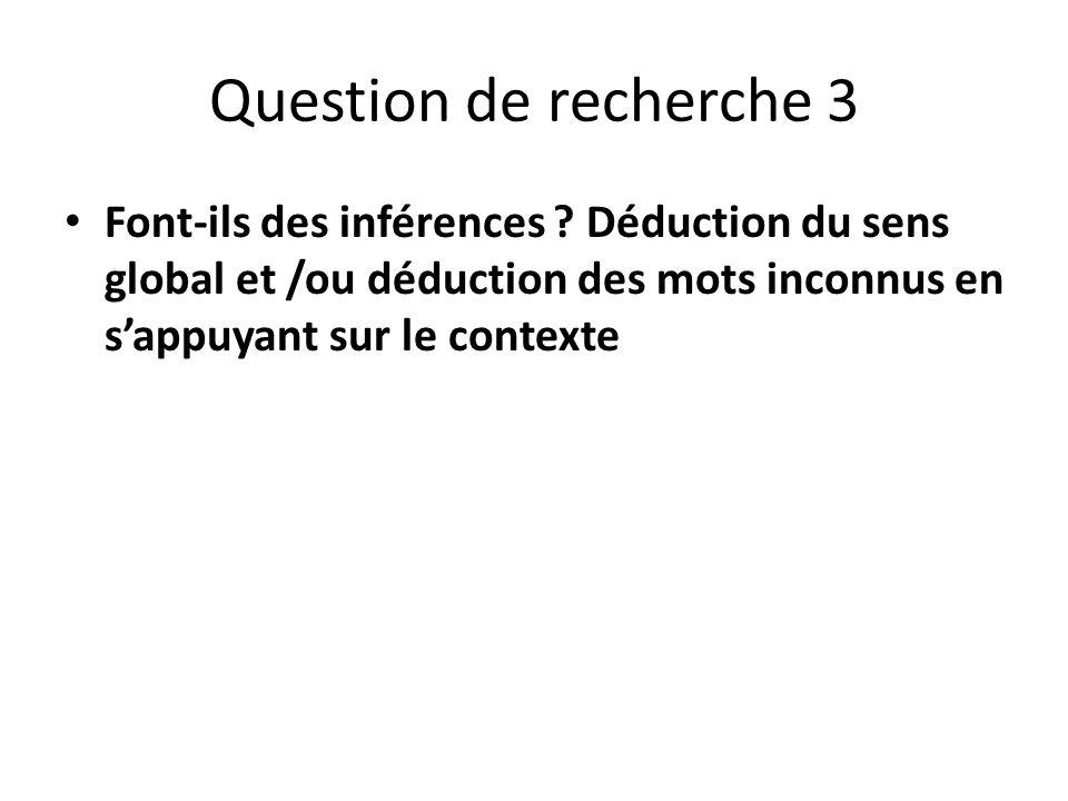 Question de recherche 3 Font-ils des inférences ? Déduction du sens global et /ou déduction des mots inconnus en sappuyant sur le contexte