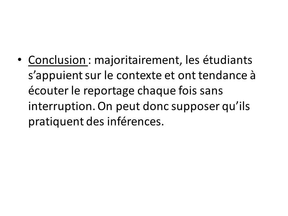 Conclusion : majoritairement, les étudiants sappuient sur le contexte et ont tendance à écouter le reportage chaque fois sans interruption. On peut do