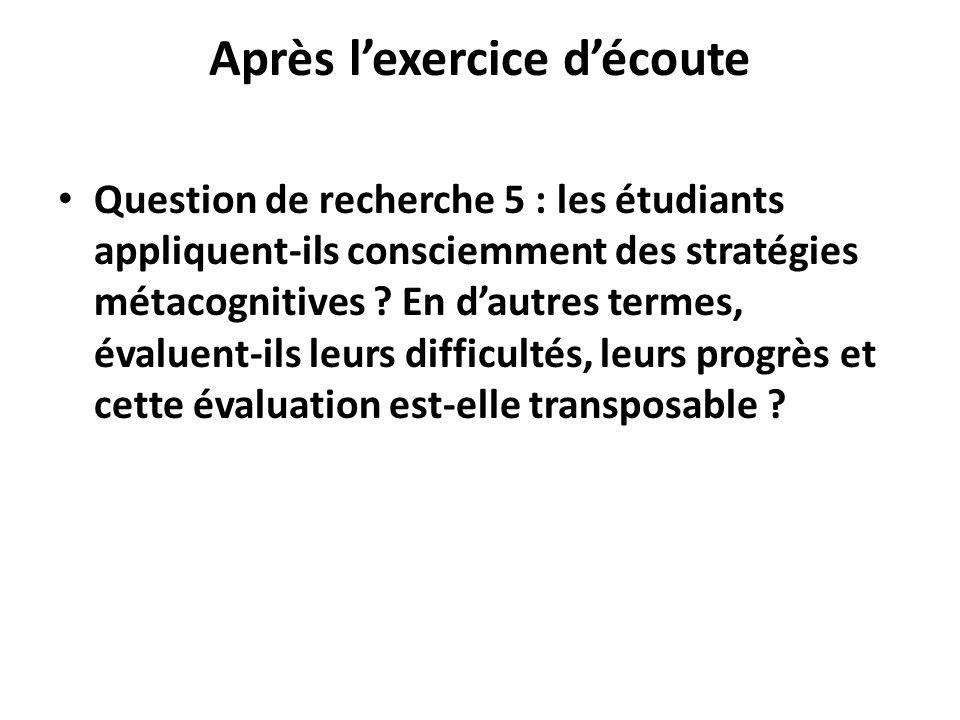 Après lexercice découte Question de recherche 5 : les étudiants appliquent-ils consciemment des stratégies métacognitives ? En dautres termes, évaluen