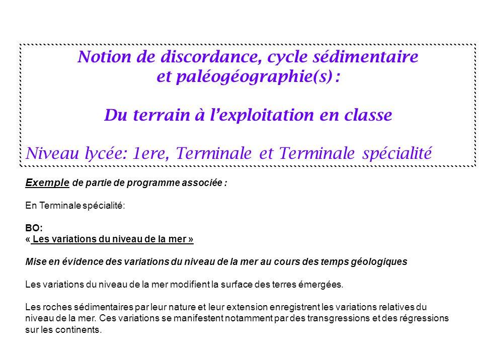 Notion de discordance, cycle sédimentaire et paléogéographie(s) : Du terrain à lexploitation en classe Niveau lycée: 1ere, Terminale et Terminale spéc