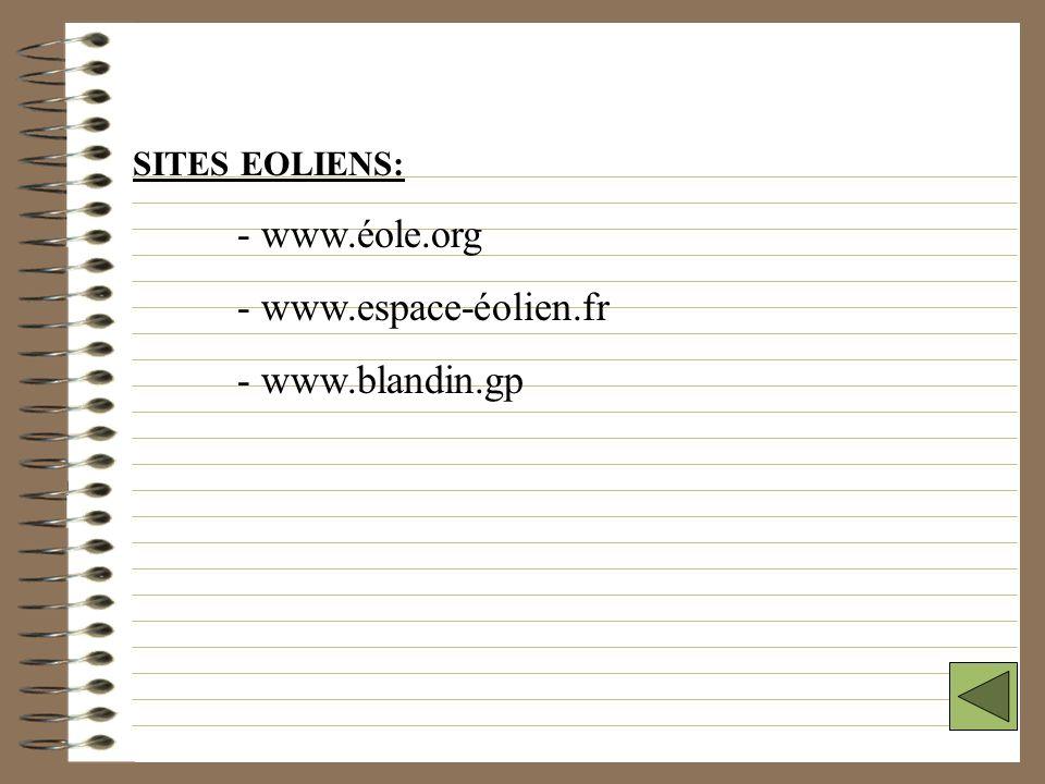 LIENS INTERNET GENERAUX: - www.edf.fr - www.pacifique-industrie.nc - www.total-energie.fr - www.enerdata.fr