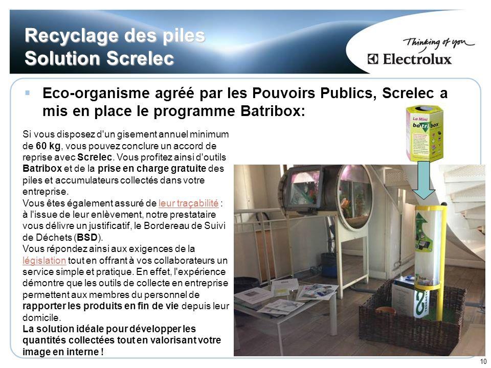 10 Recyclage des piles Solution Screlec Eco-organisme agréé par les Pouvoirs Publics, Screlec a mis en place le programme Batribox: Si vous disposez d
