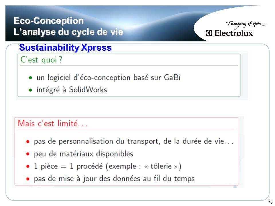 15 Eco-Conception Lanalyse du cycle de vie Sustainability Xpress