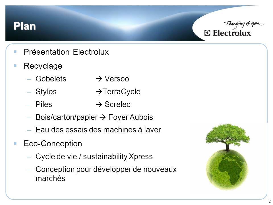 2 Plan Présentation Electrolux Recyclage –Gobelets Versoo –Stylos TerraCycle –Piles Screlec –Bois/carton/papier Foyer Aubois –Eau des essais des machi