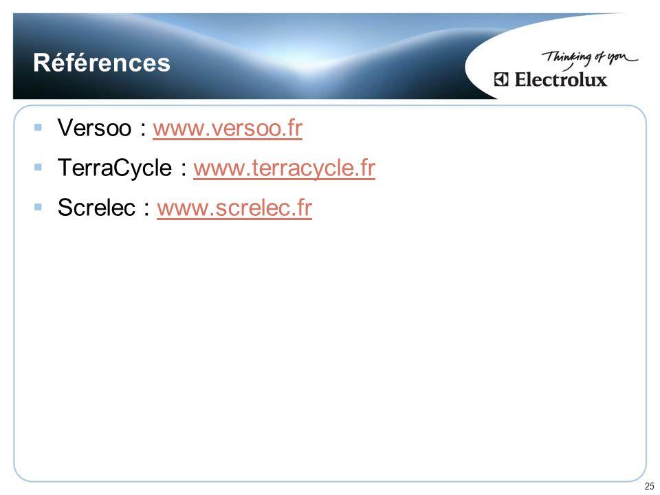 25 Références Versoo : www.versoo.frwww.versoo.fr TerraCycle : www.terracycle.frwww.terracycle.fr Screlec : www.screlec.frwww.screlec.fr