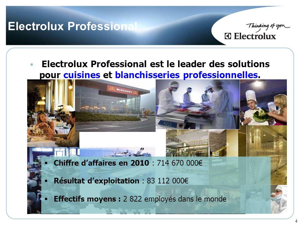 4 Electrolux Professional Chiffre daffaires en 2010 : 714 670 000 Résultat dexploitation : 83 112 000 Effectifs moyens : 2 822 employés dans le monde