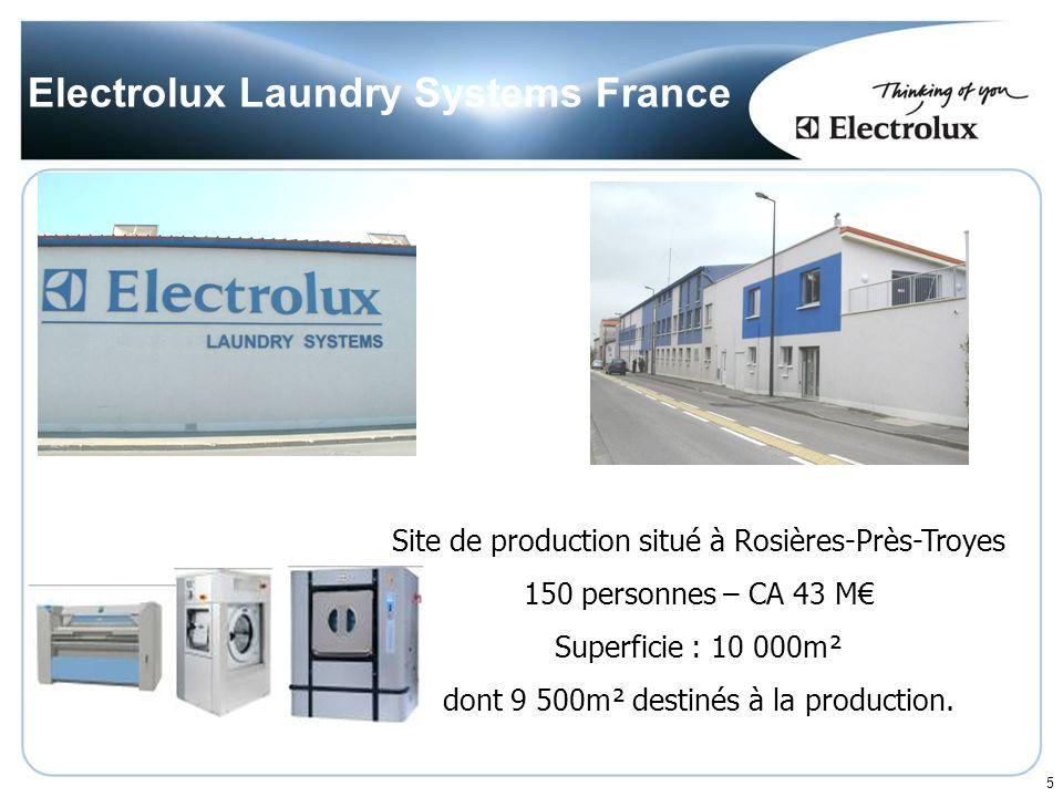 5 Electrolux Laundry Systems France Site de production situé à Rosières-Près-Troyes 150 personnes – CA 43 M Superficie : 10 000m² dont 9 500m² destinés à la production.