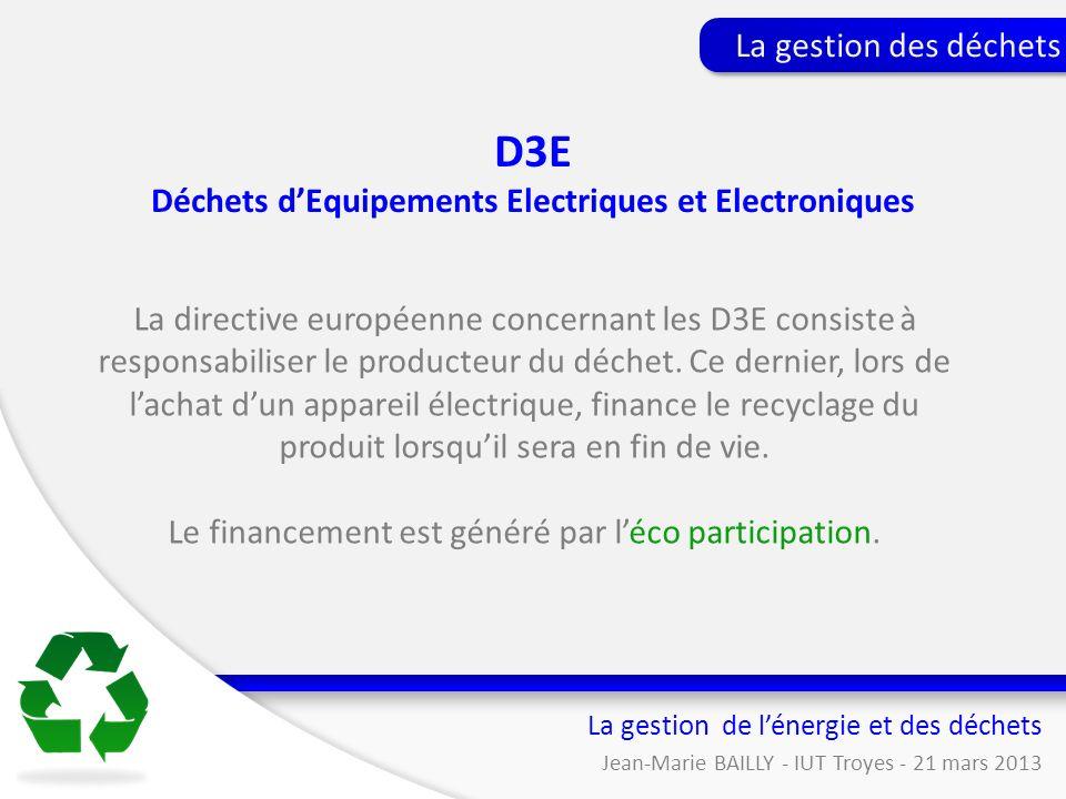 La directive européenne concernant les D3E consiste à responsabiliser le producteur du déchet. Ce dernier, lors de lachat dun appareil électrique, fin
