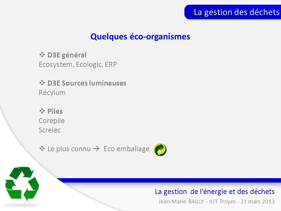 La gestion de lénergie et des déchets Jean-Marie BAILLY - IUT Troyes - 21 mars 2013 La gestion des déchets Quelques éco-organismes D3E général Ecosyst
