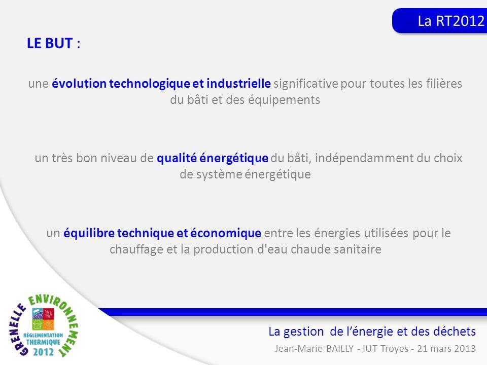 LE BUT : une évolution technologique et industrielle significative pour toutes les filières du bâti et des équipements un très bon niveau de qualité é