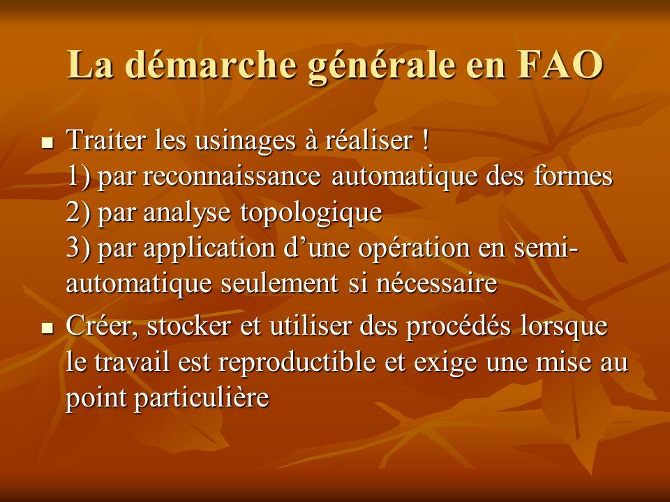 La démarche générale en FAO Traiter les usinages à réaliser ! 1) par reconnaissance automatique des formes 2) par analyse topologique 3) par applicati