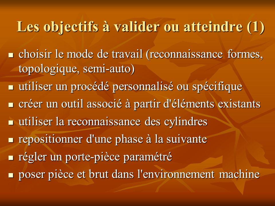 Les objectifs à valider ou atteindre (1) choisir le mode de travail (reconnaissance formes, topologique, semi-auto) choisir le mode de travail (reconn