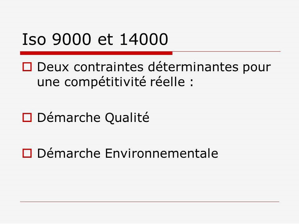 Iso 9000 et 14000 Deux contraintes déterminantes pour une compétitivité réelle : Démarche Qualité Démarche Environnementale