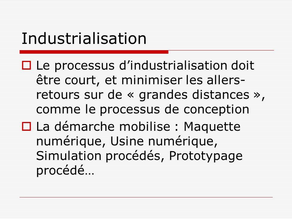 Industrialisation Le processus dindustrialisation doit être court, et minimiser les allers- retours sur de « grandes distances », comme le processus de conception La démarche mobilise : Maquette numérique, Usine numérique, Simulation procédés, Prototypage procédé…