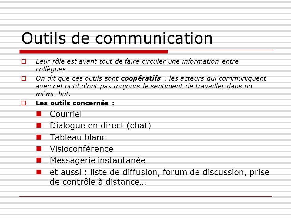 Outils de communication Leur rôle est avant tout de faire circuler une information entre collègues. On dit que ces outils sont coopératifs : les acteu