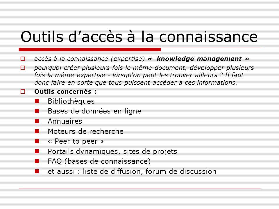 Outils daccès à la connaissance accès à la connaissance (expertise) « knowledge management » pourquoi créer plusieurs fois le même document, développe