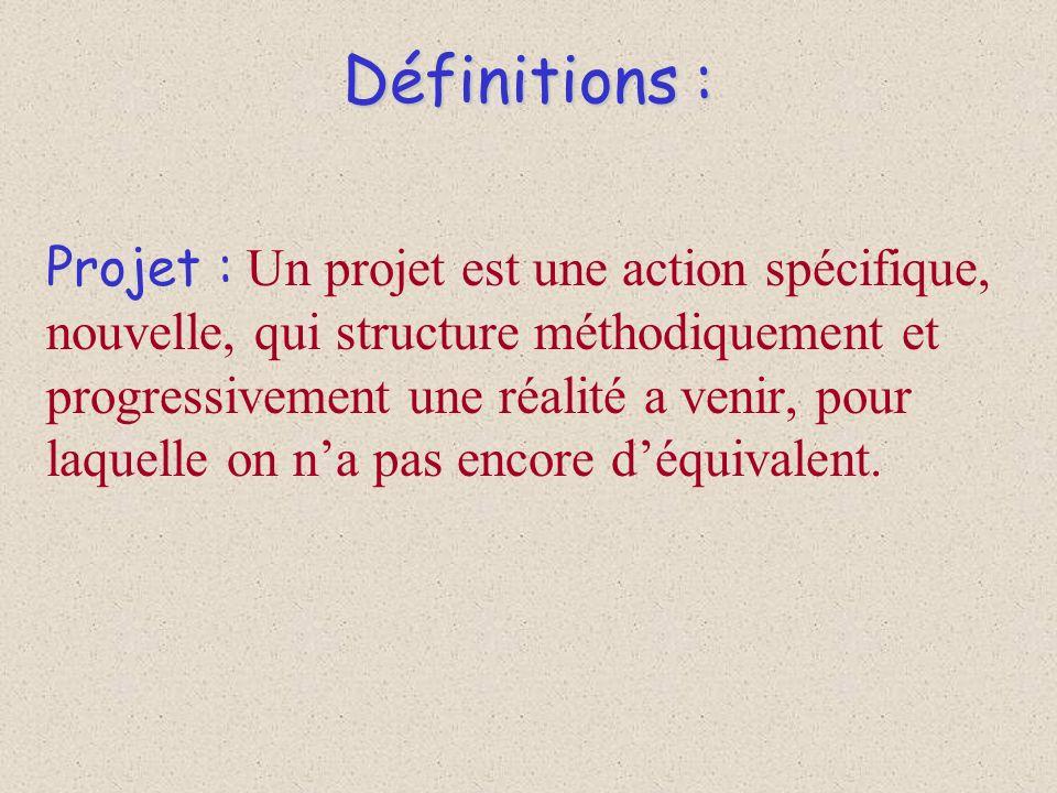 Définitions : Projet : Un projet est une action spécifique, nouvelle, qui structure méthodiquement et progressivement une réalité a venir, pour laquel
