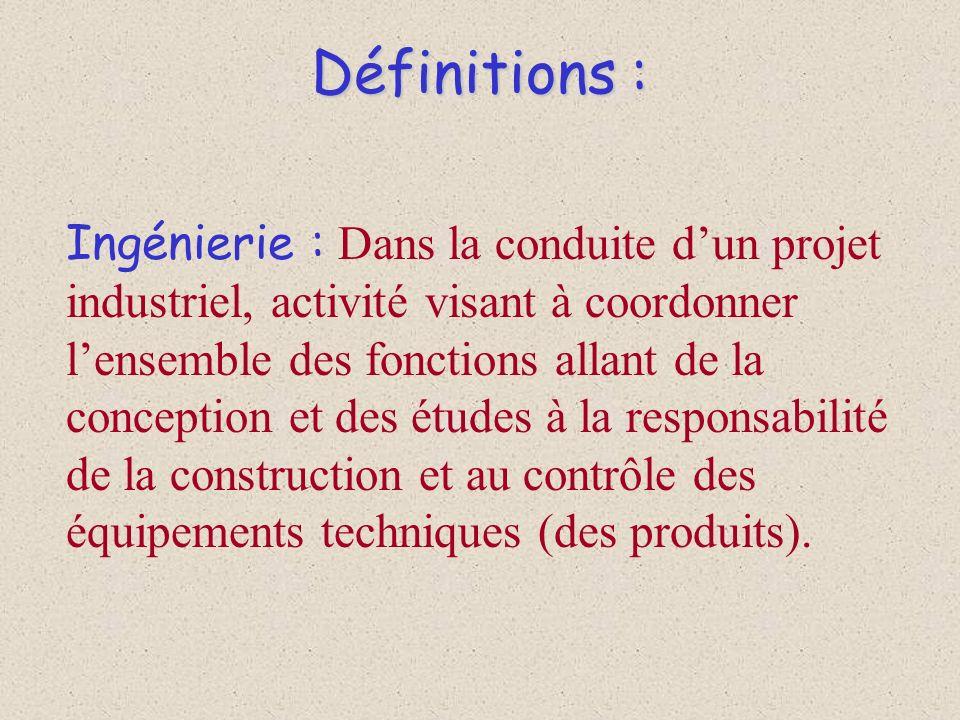 Définitions : Ingénierie : Dans la conduite dun projet industriel, activité visant à coordonner lensemble des fonctions allant de la conception et des