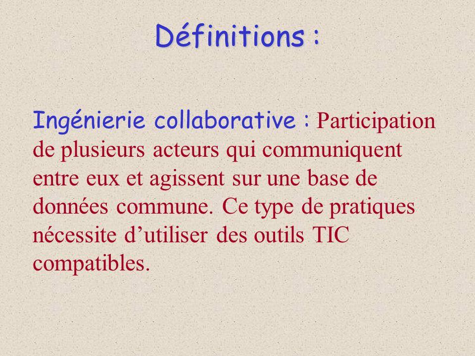Définitions : Ingénierie collaborative : Participation de plusieurs acteurs qui communiquent entre eux et agissent sur une base de données commune. Ce