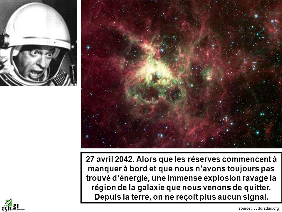 27 avril 2042. Alors que les réserves commencent à manquer à bord et que nous navons toujours pas trouvé dénergie, une immense explosion ravage la rég