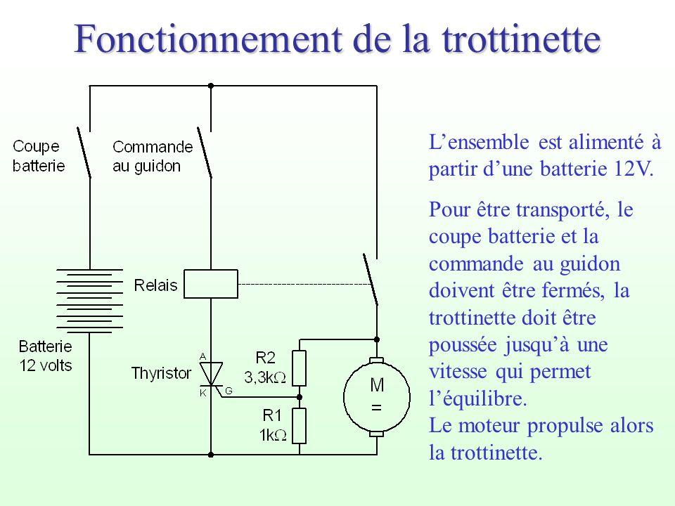 Fonctionnement de la trottinette Lensemble est alimenté à partir dune batterie 12V. Pour être transporté, le coupe batterie et la commande au guidon d