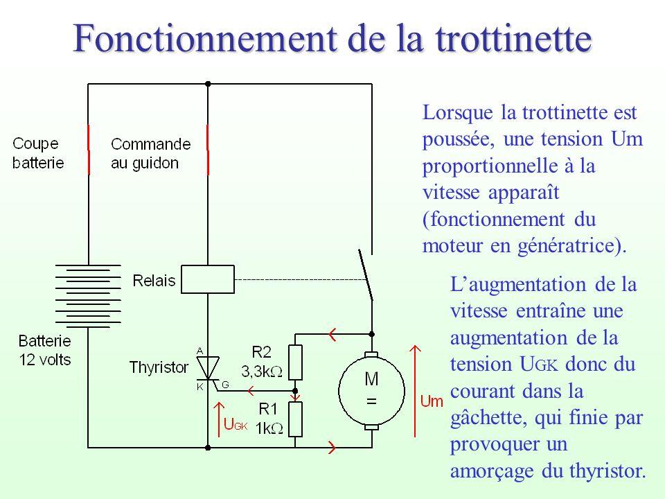 Fonctionnement de la trottinette Lorsque la trottinette est poussée, une tension Um proportionnelle à la vitesse apparaît (fonctionnement du moteur en