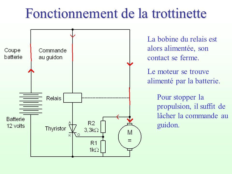 Fonctionnement de la trottinette La bobine du relais est alors alimentée, son contact se ferme. Le moteur se trouve alimenté par la batterie. Pour sto