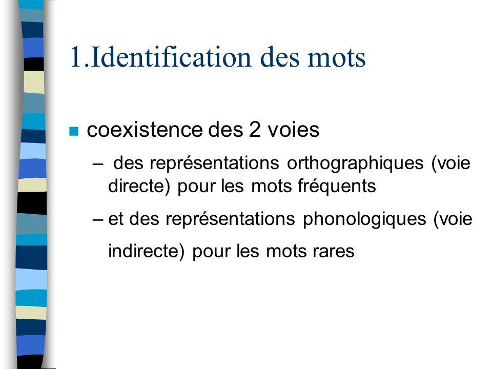 1.Identification des mots n coexistence des 2 voies – des représentations orthographiques (voie directe) pour les mots fréquents –et des représentatio
