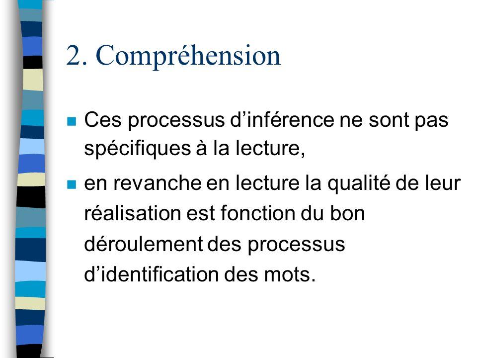 2. Compréhension n Ces processus dinférence ne sont pas spécifiques à la lecture, n en revanche en lecture la qualité de leur réalisation est fonction
