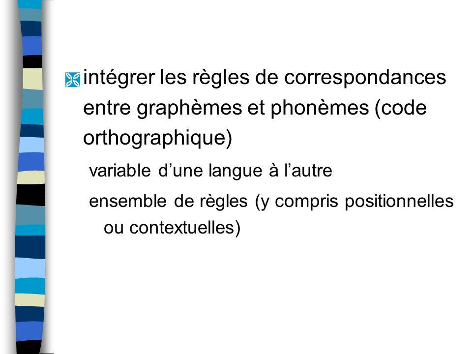 Ì intégrer les règles de correspondances entre graphèmes et phonèmes (code orthographique) variable dune langue à lautre ensemble de règles (y compris