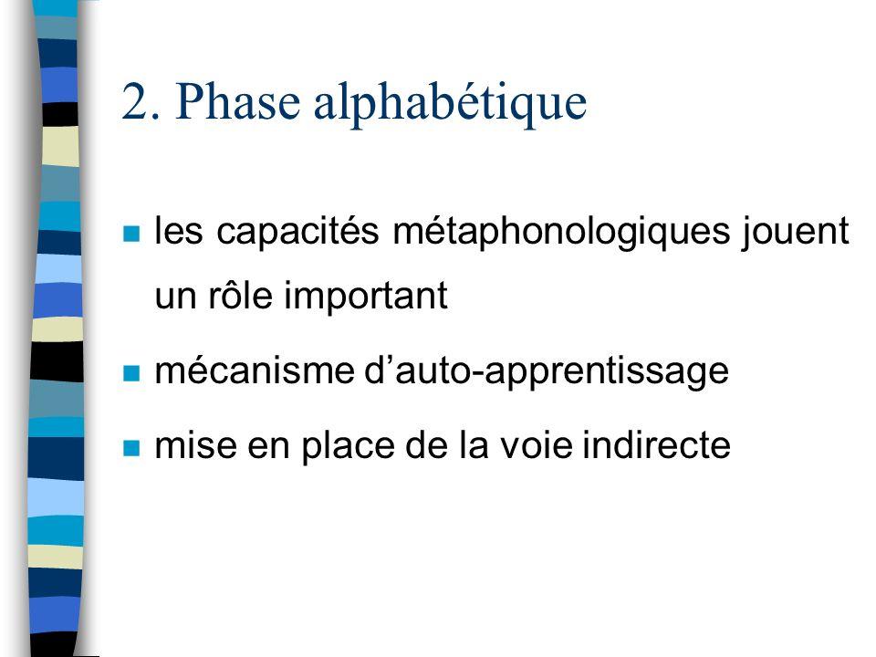 2. Phase alphabétique n les capacités métaphonologiques jouent un rôle important n mécanisme dauto-apprentissage n mise en place de la voie indirecte