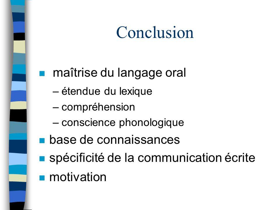 Conclusion n maîtrise du langage oral –étendue du lexique –compréhension –conscience phonologique n base de connaissances n spécificité de la communic