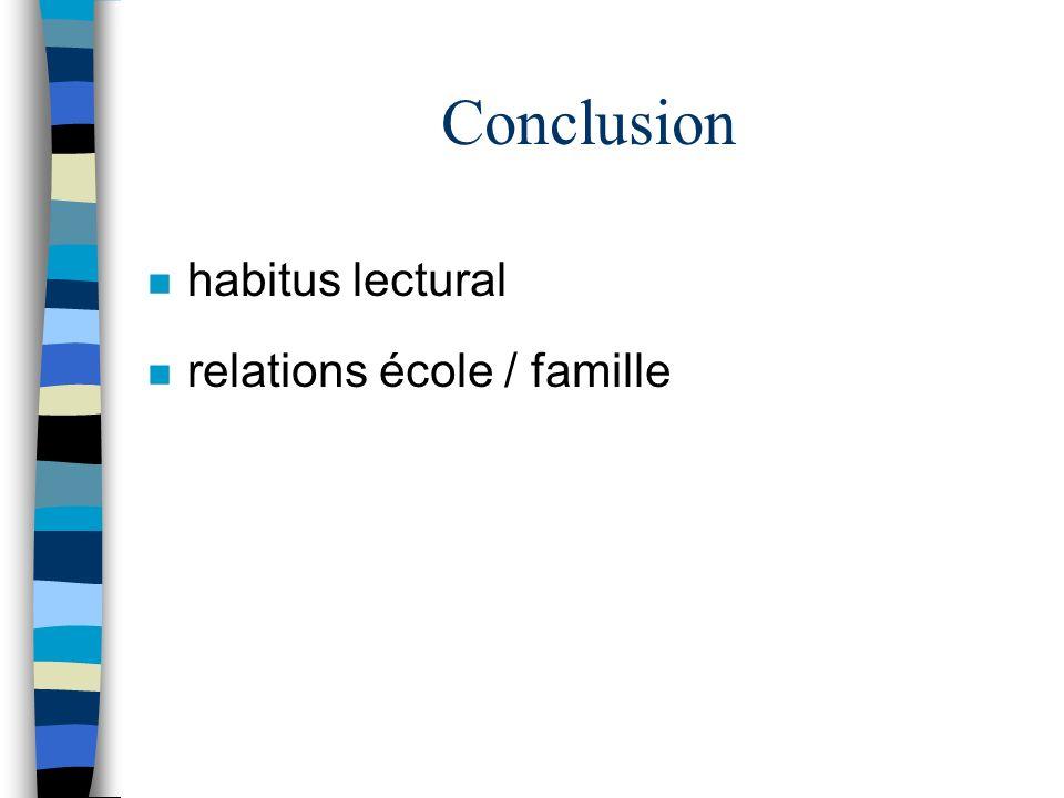 Conclusion n habitus lectural n relations école / famille