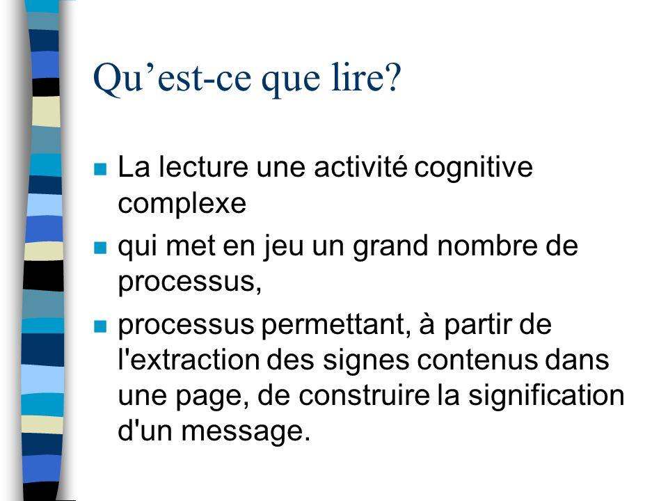 n La lecture une activité cognitive complexe n qui met en jeu un grand nombre de processus, n processus permettant, à partir de l'extraction des signe