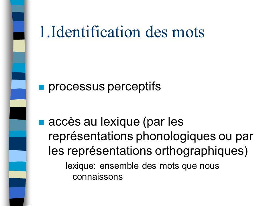 1.Identification des mots n processus perceptifs n accès au lexique (par les représentations phonologiques ou par les représentations orthographiques)