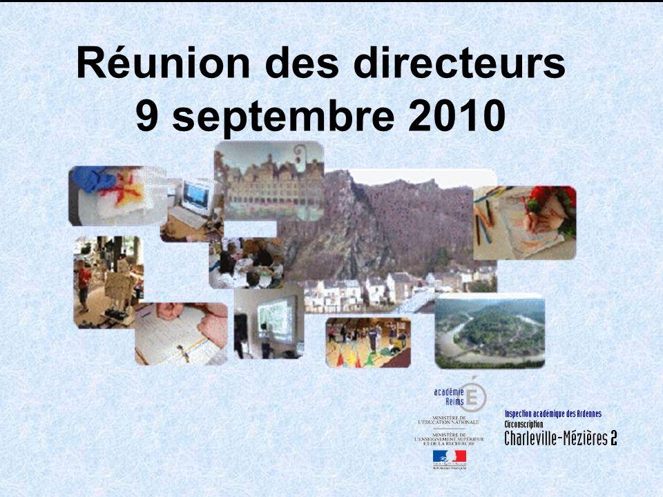Réunion des directeurs 9 septembre 2010 En Pj