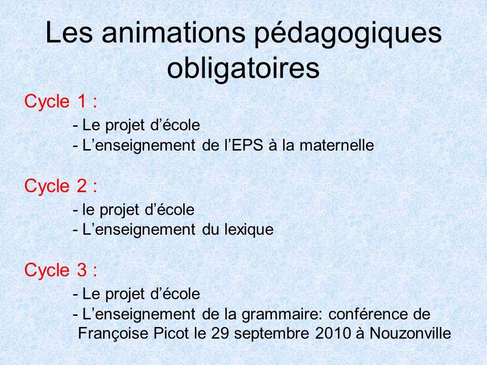 Les animations pédagogiques obligatoires Cycle 1 : - Le projet décole - Lenseignement de lEPS à la maternelle Cycle 2 : - le projet décole - Lenseigne