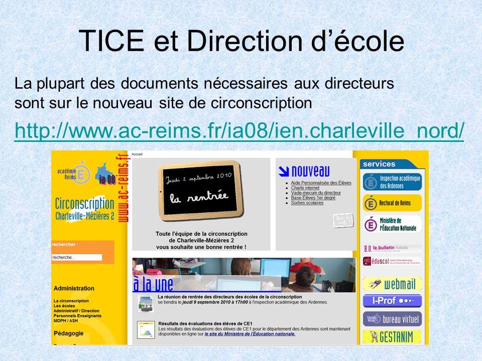 TICE et Direction décole La plupart des documents nécessaires aux directeurs sont sur le nouveau site de circonscription http://www.ac-reims.fr/ia08/ien.charleville_nord/