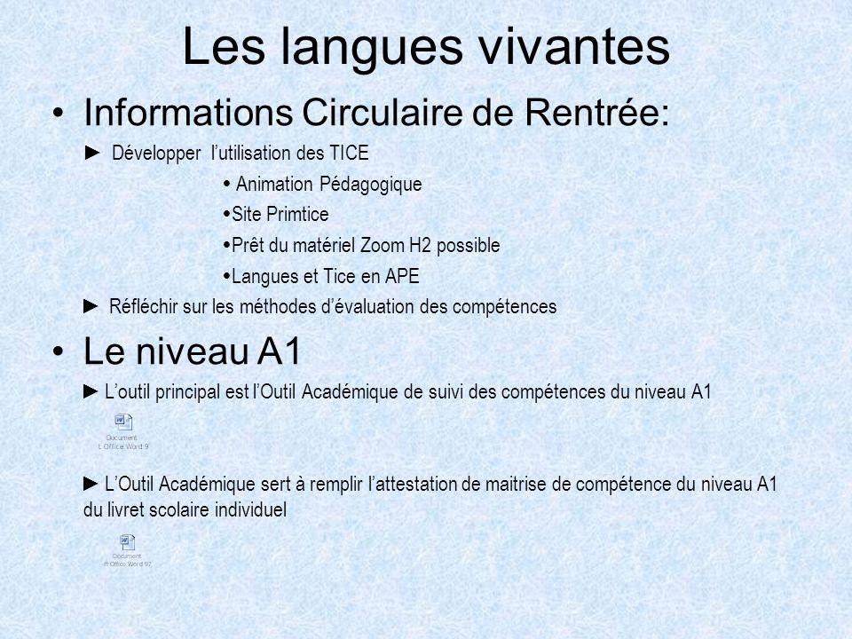 Les langues vivantes Informations Circulaire de Rentrée: Développer lutilisation des TICE Animation Pédagogique Site Primtice Prêt du matériel Zoom H2