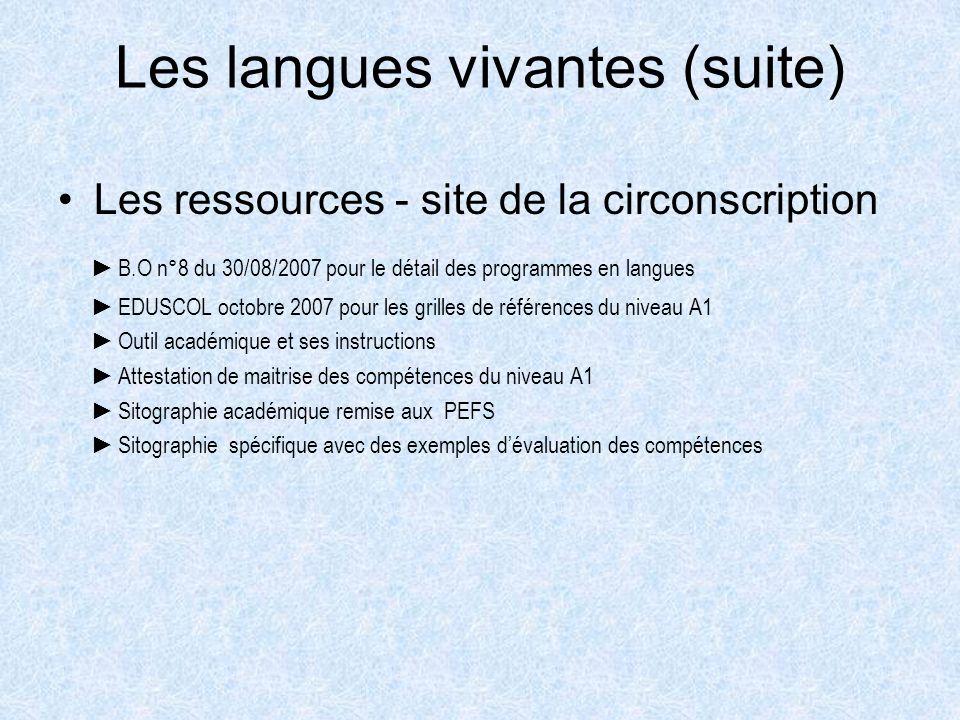 Les langues vivantes (suite) Les ressources - site de la circonscription B.O n°8 du 30/08/2007 pour le détail des programmes en langues EDUSCOL octobr
